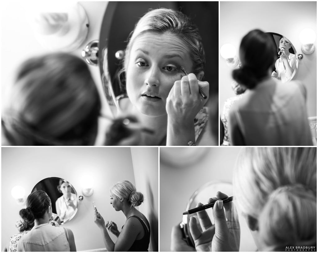 Bridesmaids doing their makeup