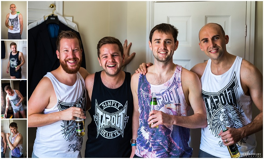 Groomsmen and groom wearing Tapout vests