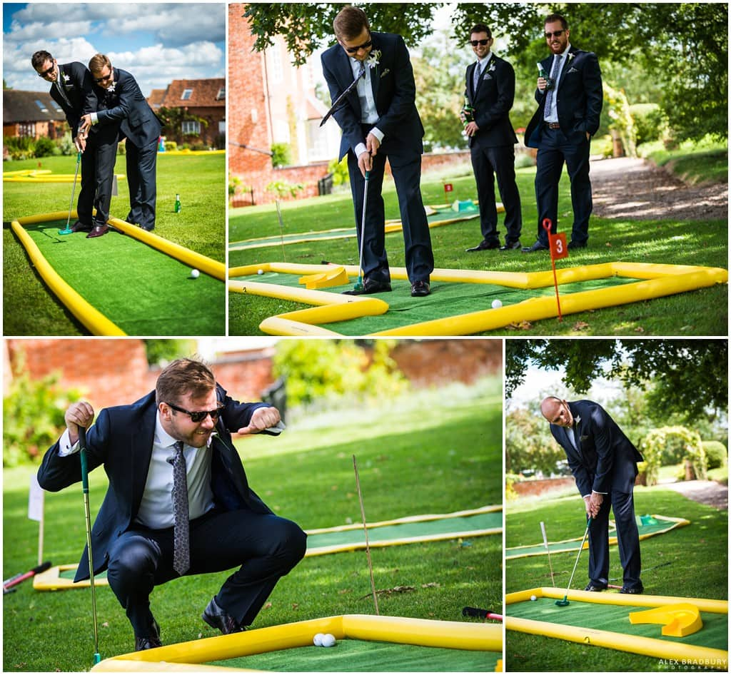 Groomsmen playing mini golf