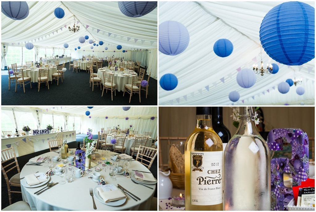Wedding marquee layout and details