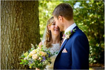 bride and groom portrait in the gardens