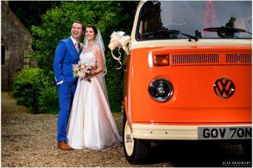 bride and groom next to a vw camper van