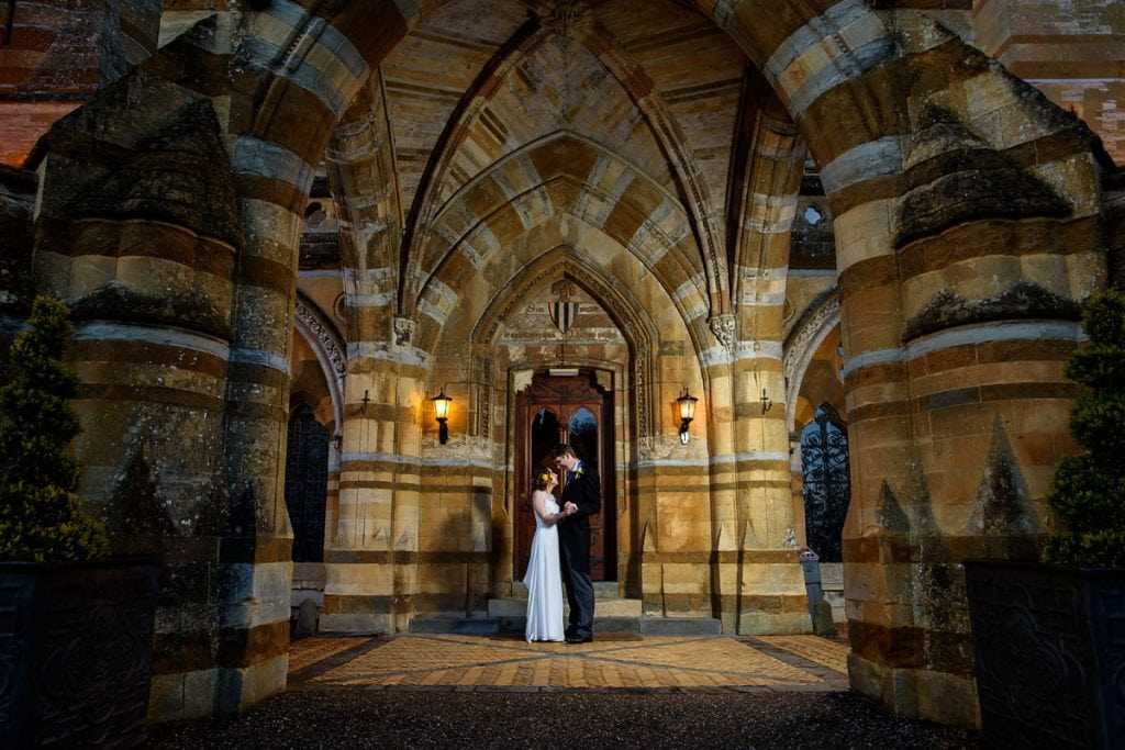 couple outside ettington park hotel on their wedding day