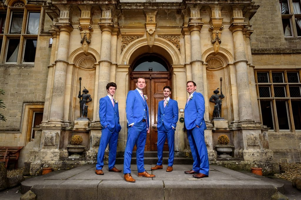 the groomsmen looking cool at orchardleigh house