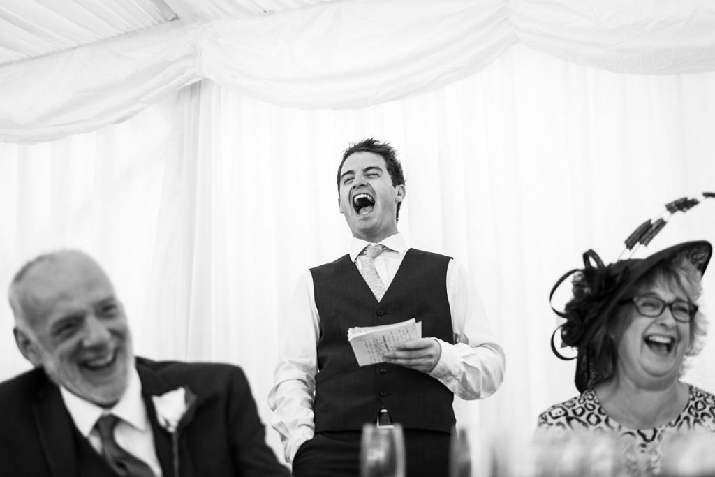 laughter during the best man's speech