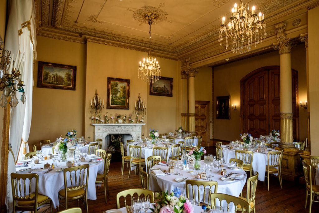 the wedding breakfast room all setup at orchardleigh house