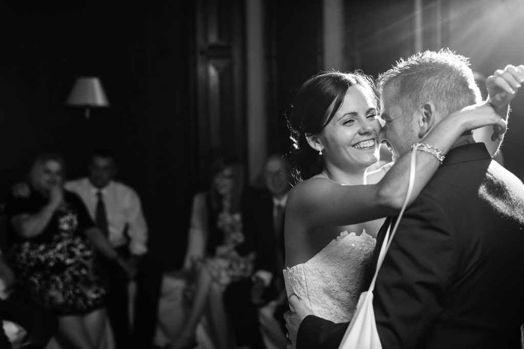 a very happy bride during the first dance