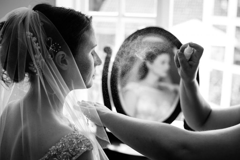 final touches during bride prep