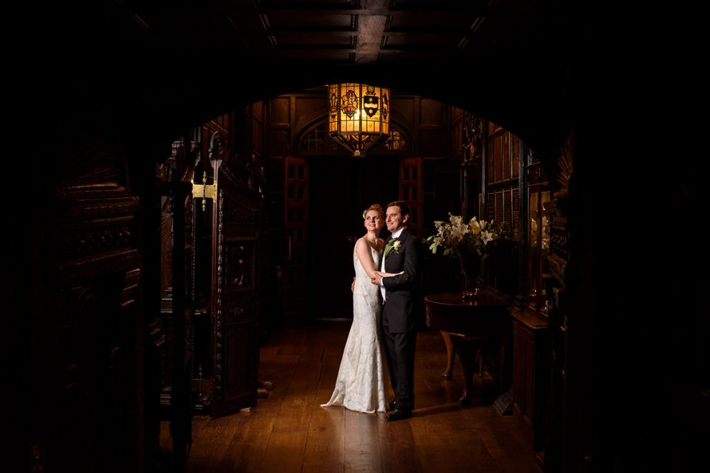 night time portrait of the bride and groom inside middle temple