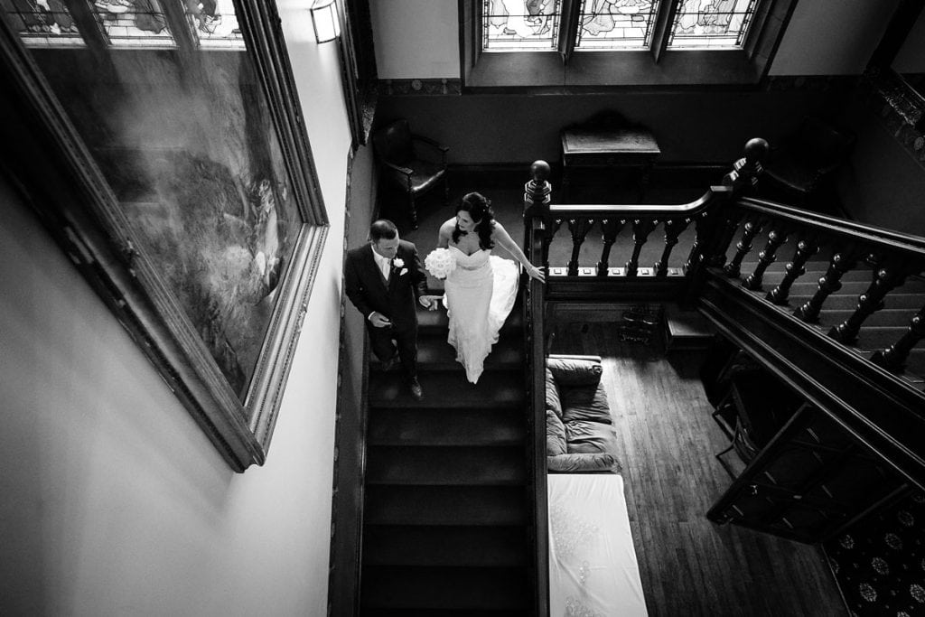 bride walking down to the ceremony at wroxall abbey
