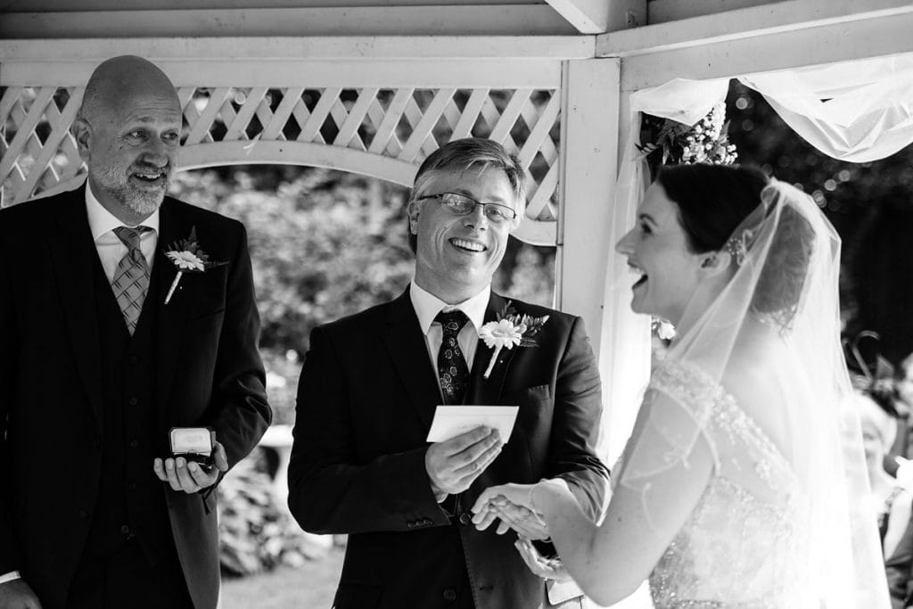 laughter and fun during the reading of the vows