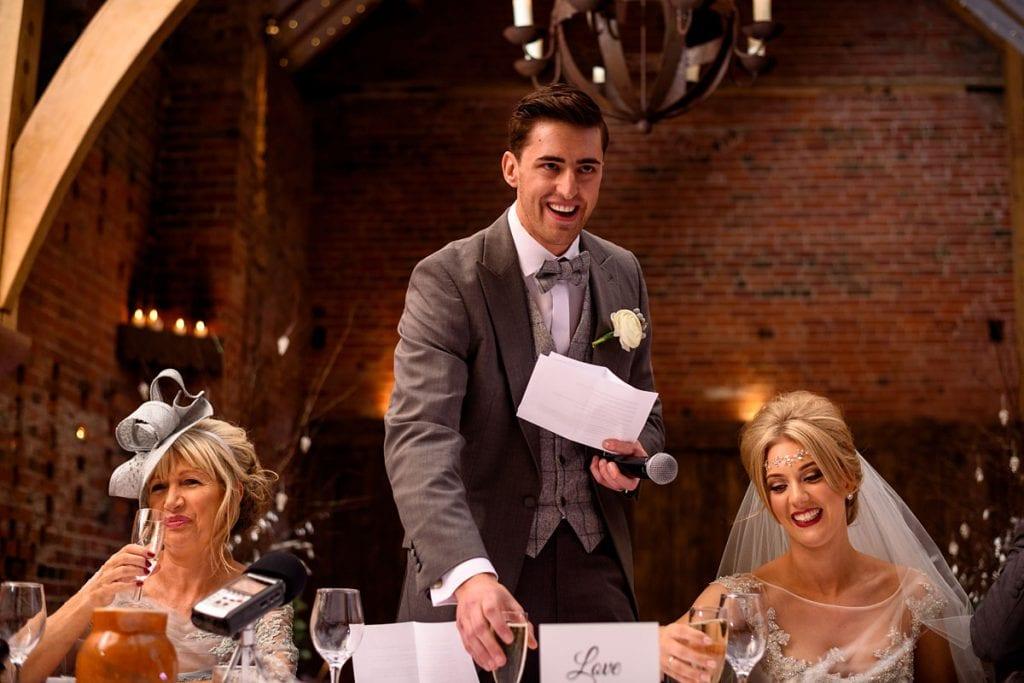 the groom's speech at shustoke farm barns