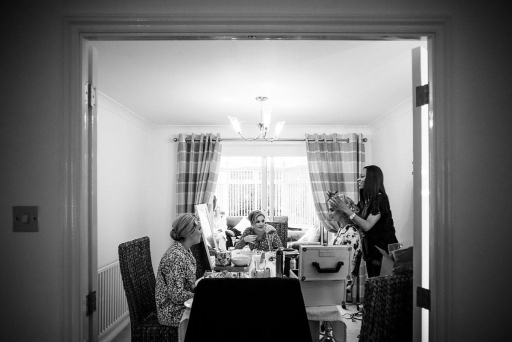 bridal preparations at the bride's parents' house in the morning