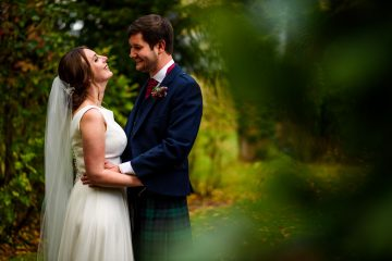couple portrait in the autumnal gardens at cripps barn