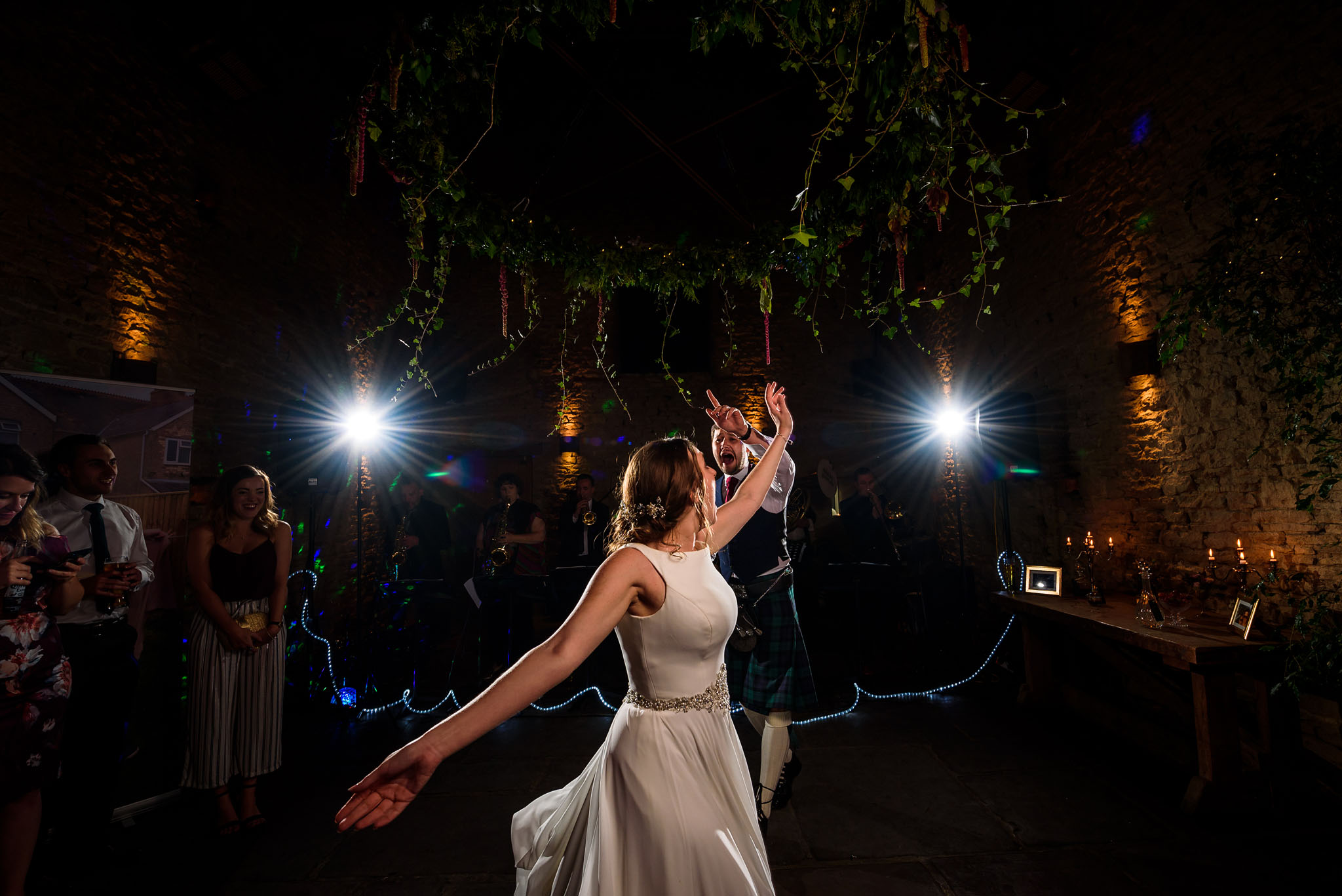 the bride spinning around the dance floor during the first dance