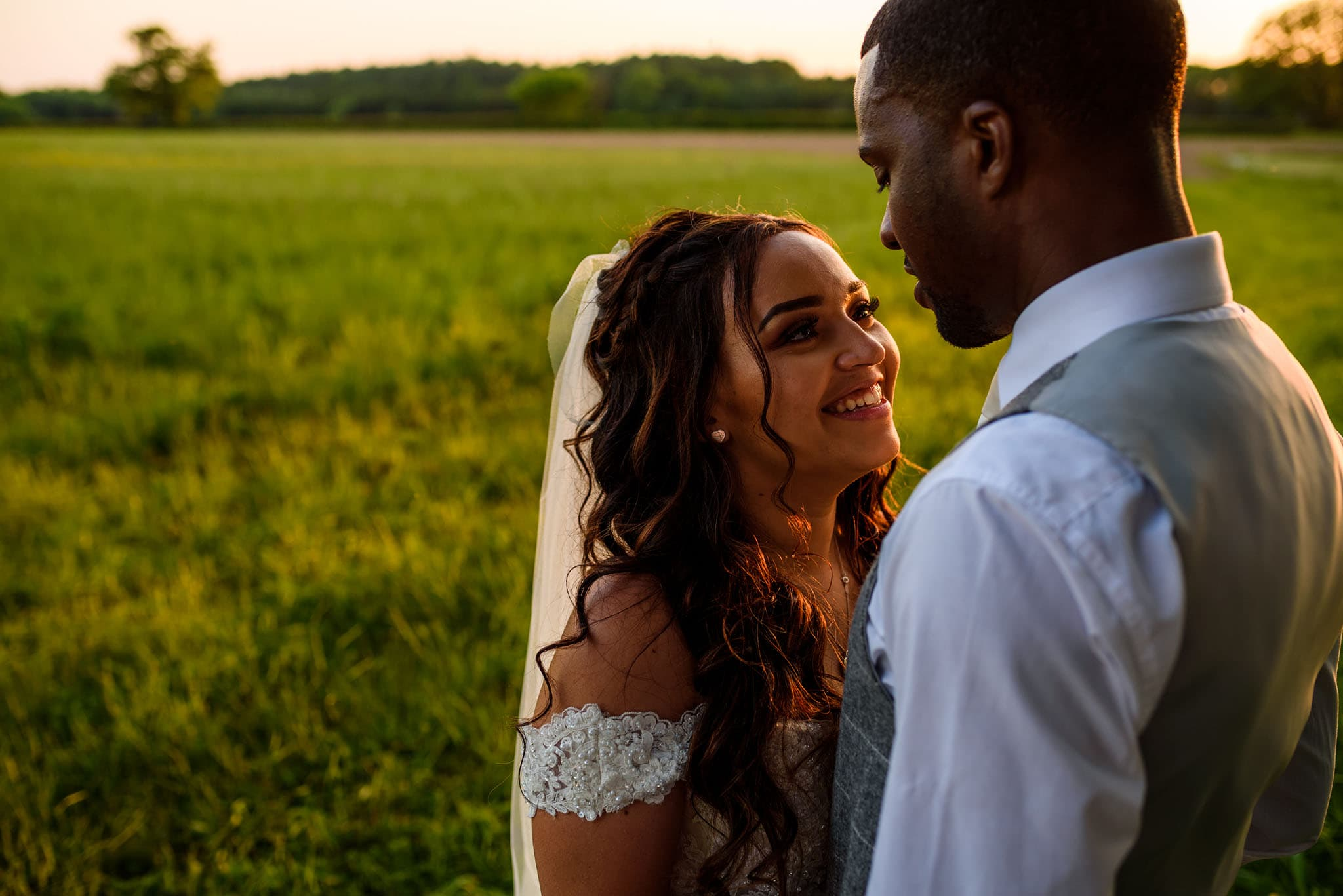 golden hour portrait of the bride and groom