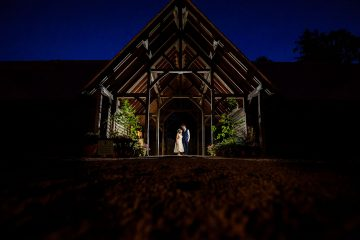 evening portrait of the bride and groom at knebworth barns