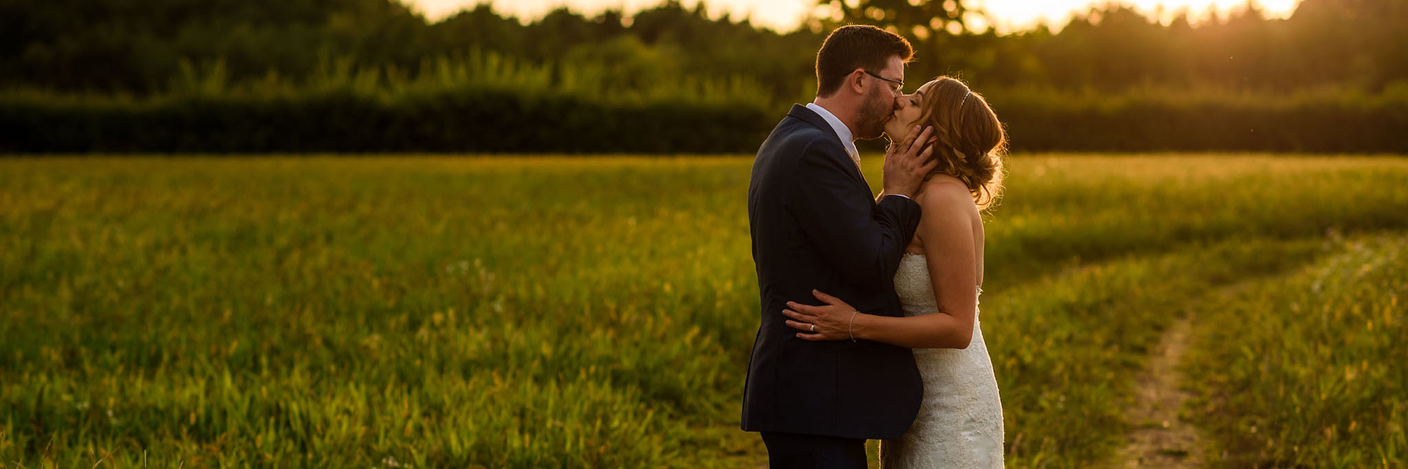 golden hour bride and groom portrait