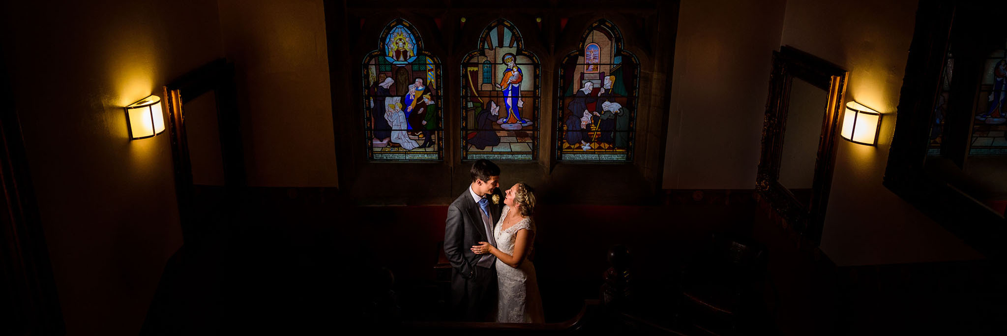 moody portrait of the bride and groom at wroxall abbey