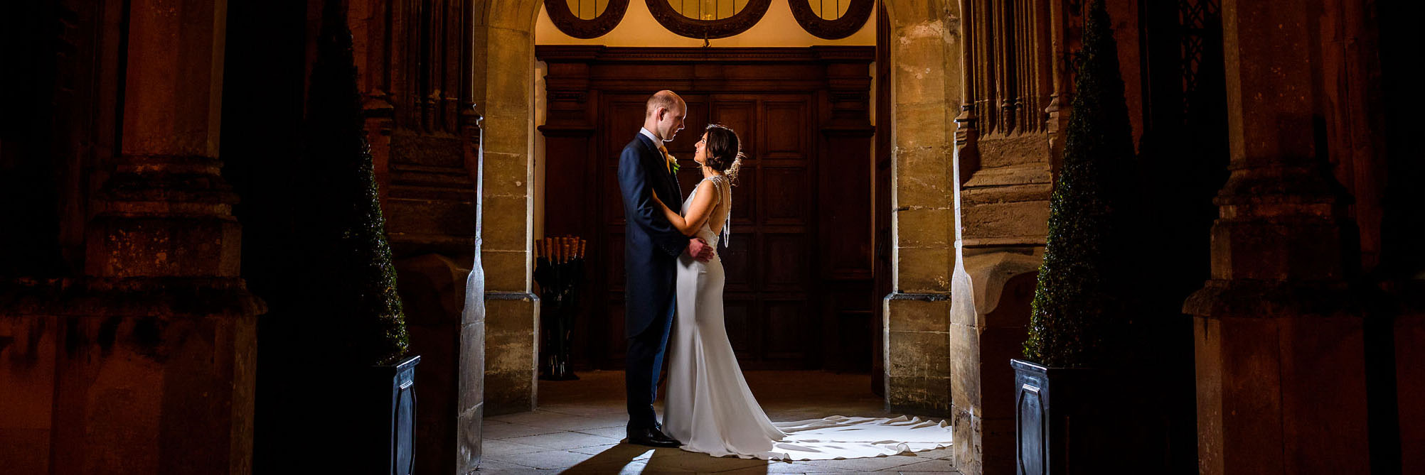night time portrait of the bride and groom at Hengrave Hall