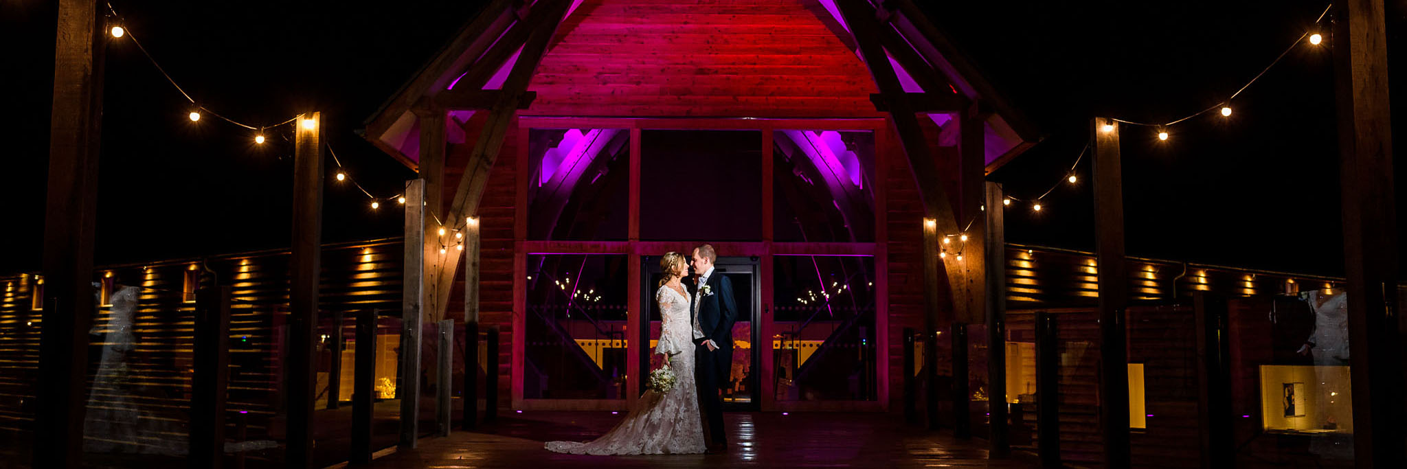 night time bride and groom portrait at The Mill Barns