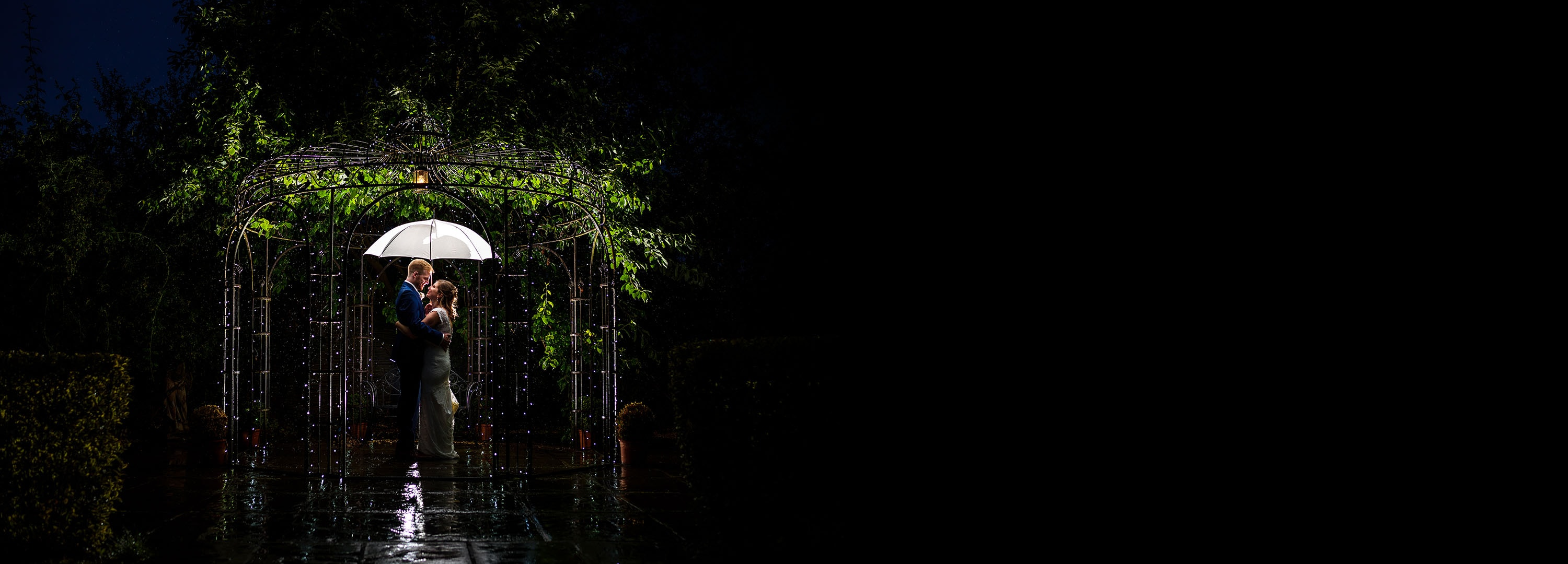 night time bride and groom portrait at wethele manor