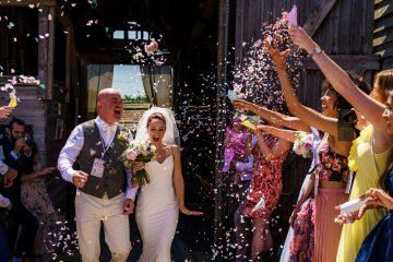 confetti shower at The Barns at Lodge Farm
