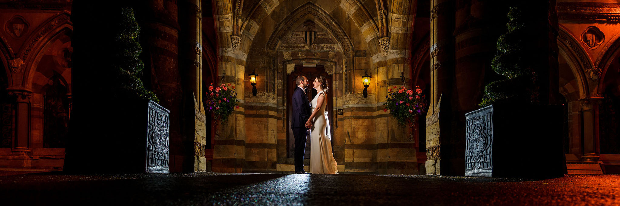 dramatic nighttime photo of the bride and groom
