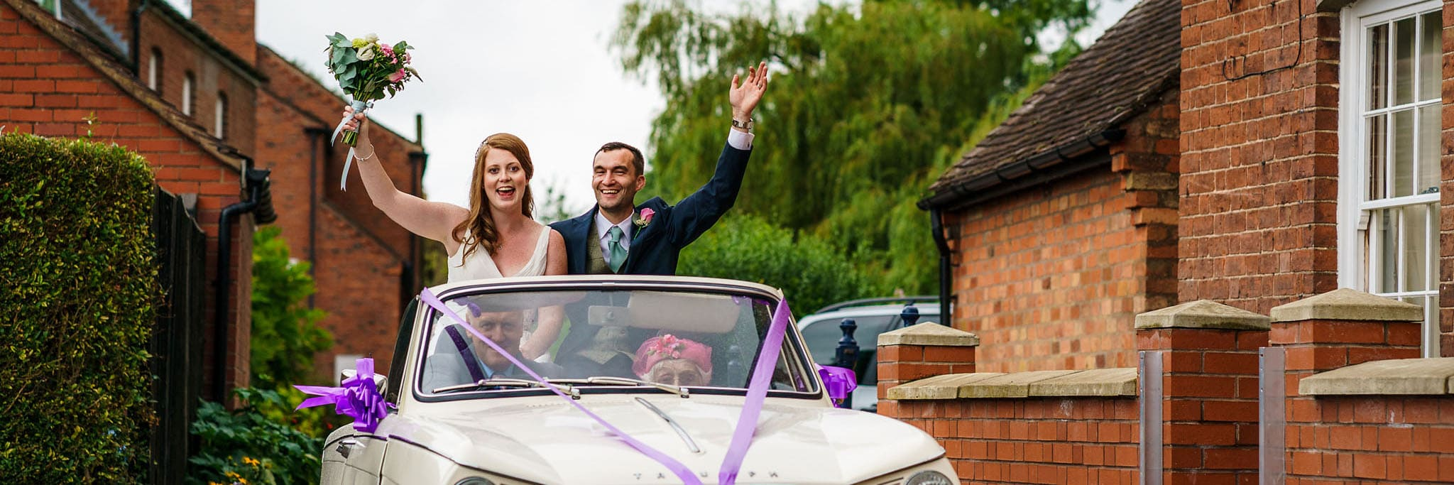 Triumph arrival for the bride and groom