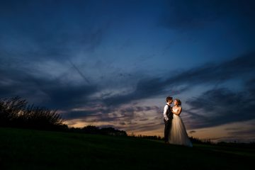 after dark portrait of the bride and groom at Wethele Manor