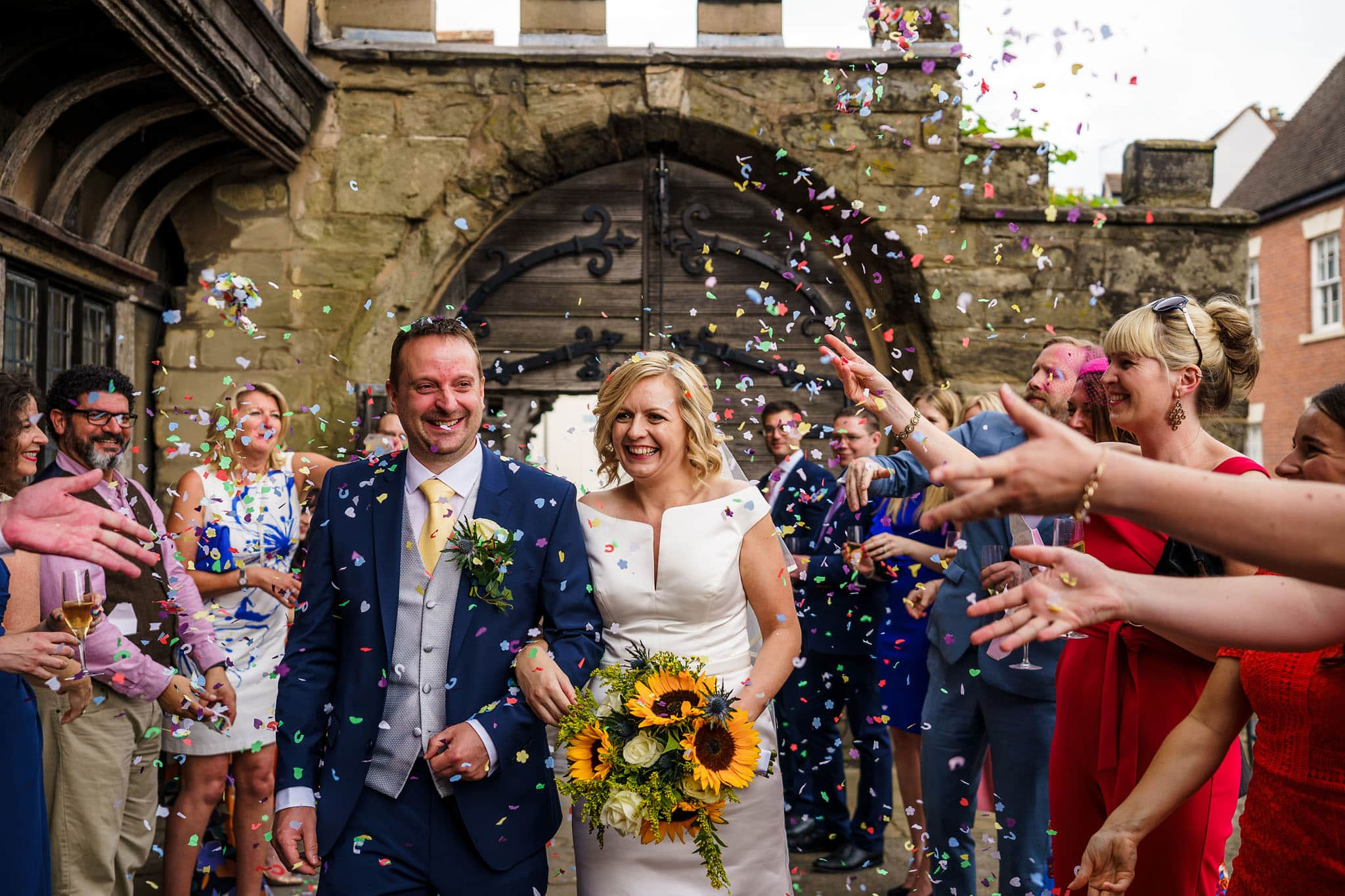 confetti time at Lord Leycester Hospital