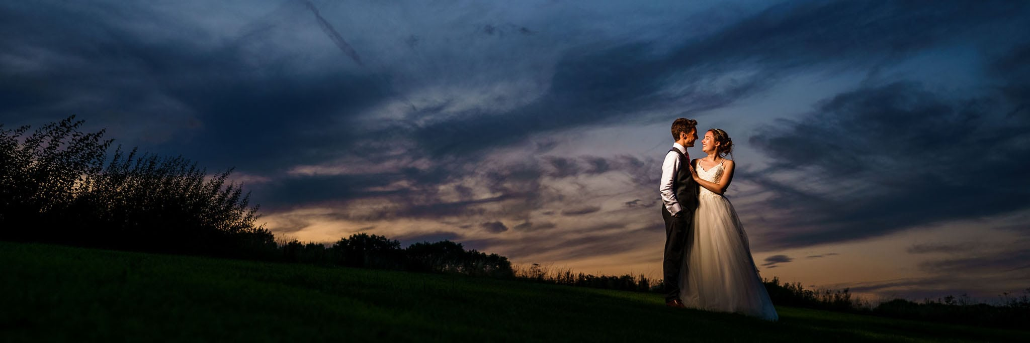 evening bride and groom portrait at Wethele Manor