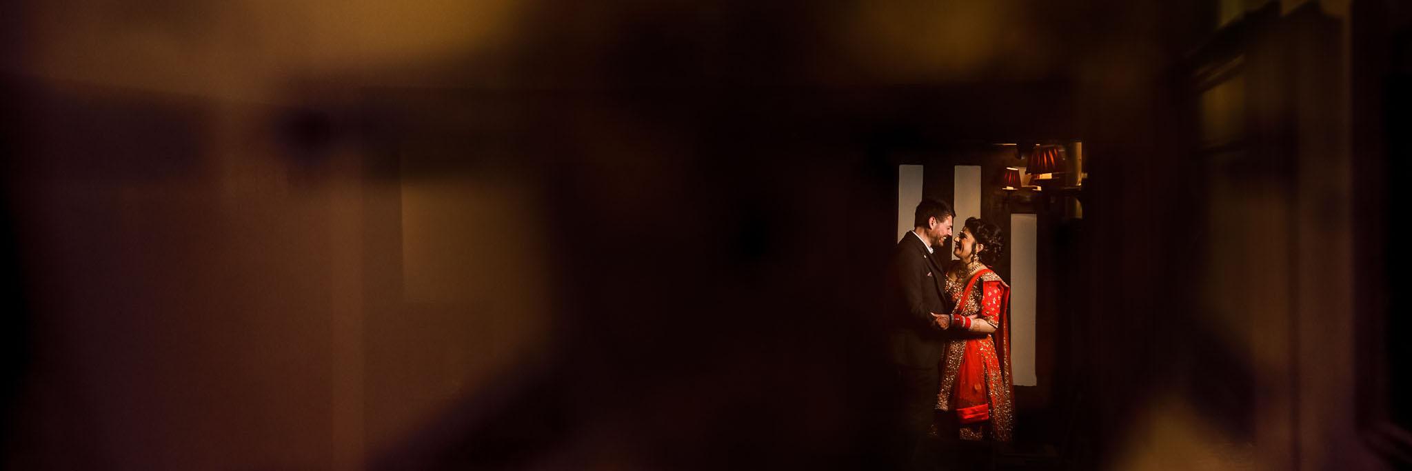 dramatic bride and groom shot at Nailcote Hall