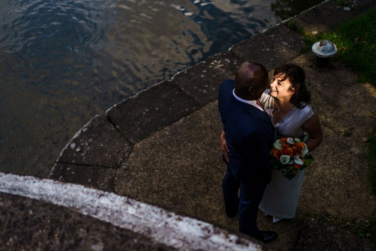 bride and groom portrait at Hatton Locks