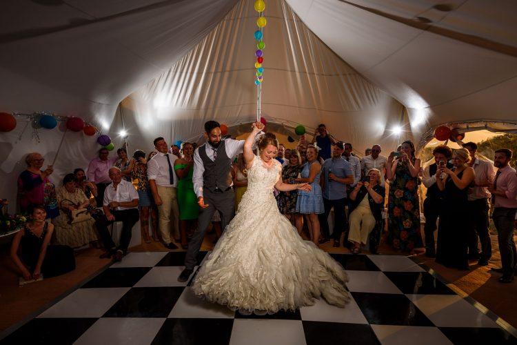 a wedding dress made for first dance swirls