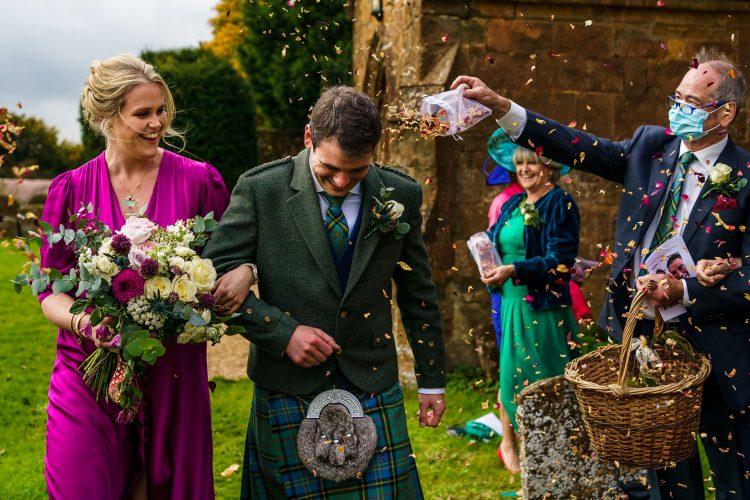 covid wedding confetti walk