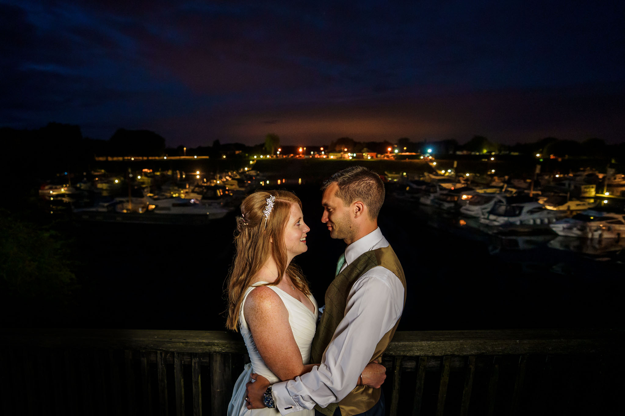 night time bride and groom portrait